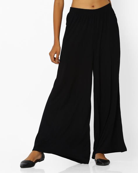 Palazzo Pants With Elasticated Waist By AVAASA WORKWEAR ( Black )