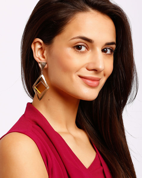 Diamond-Shaped Drop Earrings With Stone By Ssoul ( Yellow )
