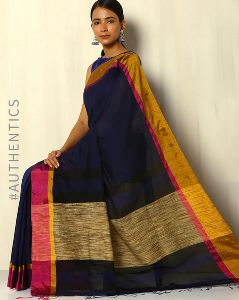 Handwoven Bengal Cotton Saree With Ghicha Pallu By Indie Picks ( Blue )