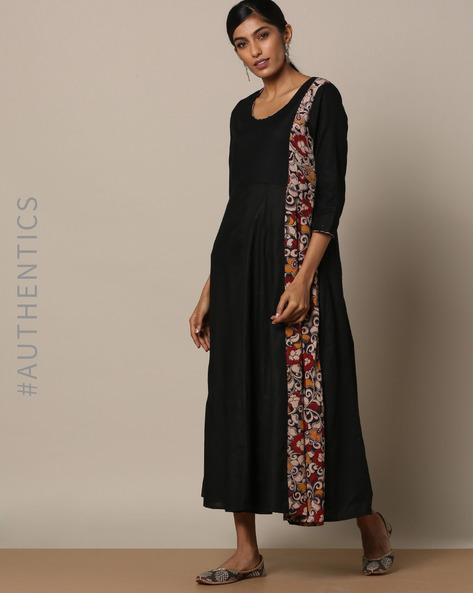 Handloom Cotton Dress With Kalamkari Trims By Indie Picks ( Black )