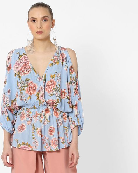 Floral Print Top With Cold-Shoulder Sleeves By Rena Love ( Multi )
