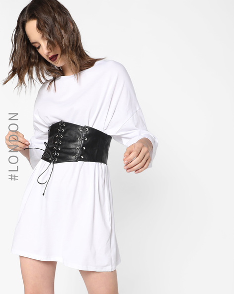 Dress With Tie-Up Waist Corset By Glamorous ( White )