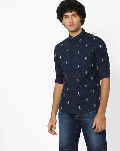 Polka-Dot Print Slim Fit Shirt By AJIO ( Navy )