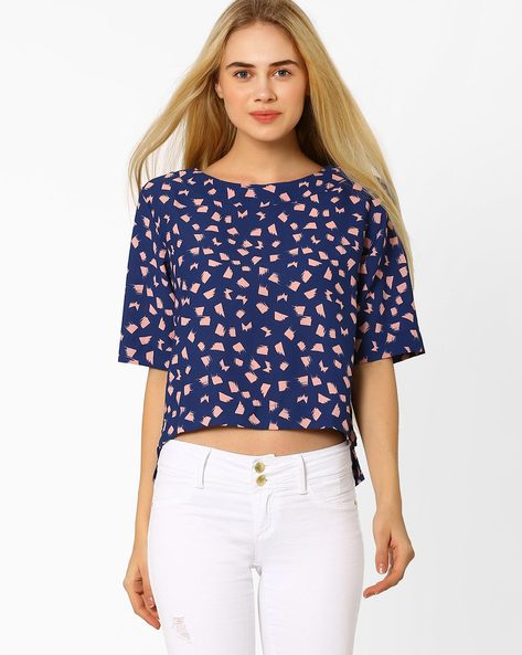 Printed Top With High-Low Hem By CHM ( Blue )
