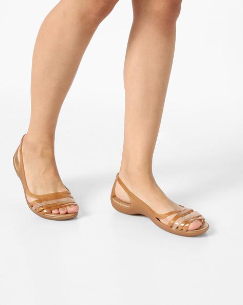 Isabella Huarache Flat Sandals By CROCS ( Bronze )