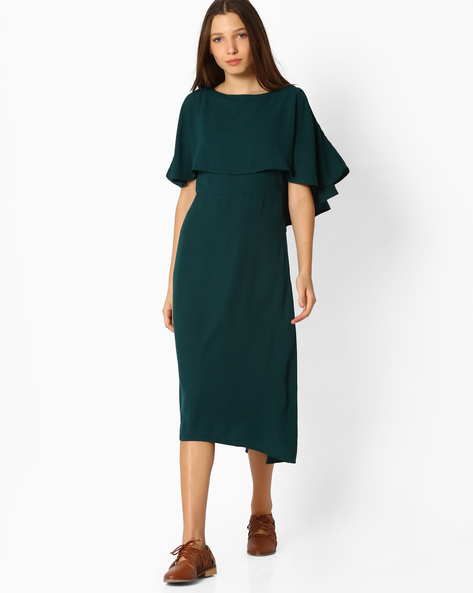Pop-Over Dress With Flutter Sleeves By Femella ( Green )