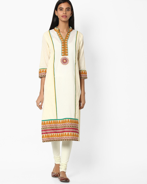 Printed Cotton Straight Kurta By Jiyaa ( Offwhite )