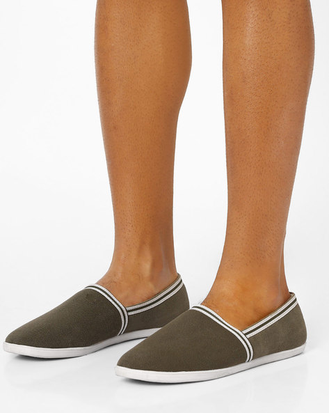 Slip-On Canvas Shoes By AJIO ( Olive )