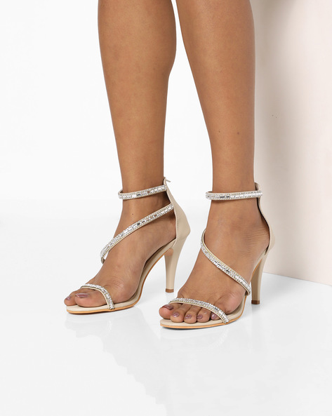 Embellished Heeled Sandals By MFT Couture ( Nude )