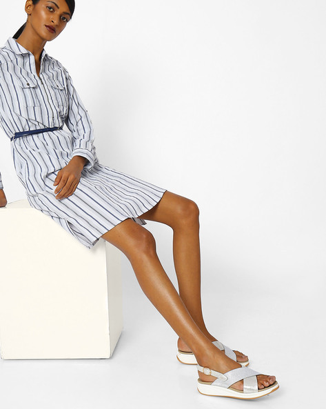 Striped Zip-Front Shirt Dress By FIG ( White )