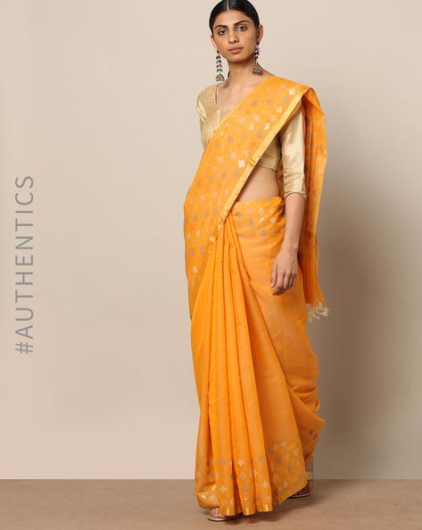 Handloom Pure Silk Cotton Saree By Indie Picks ( Orange )