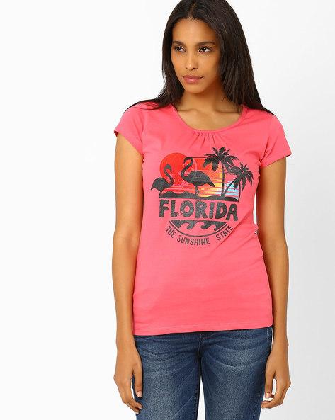 Printed T-shirt By Ajile By Pantaloons ( Coral )