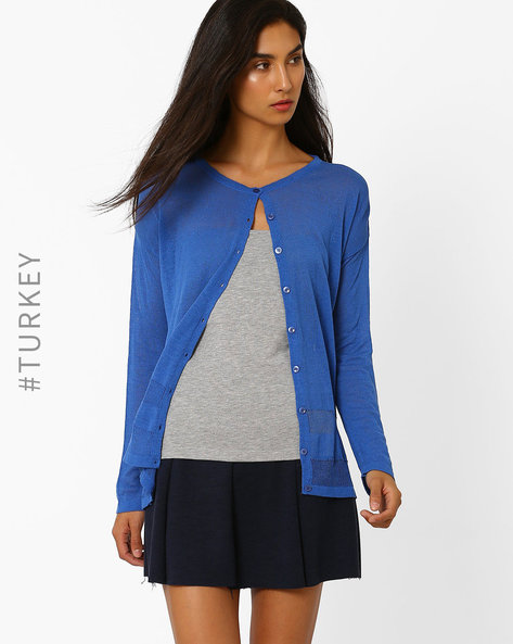 Cardigan With Drop-Shoulder Sleeves By TIFFANY & TOMATO ( Indigo )