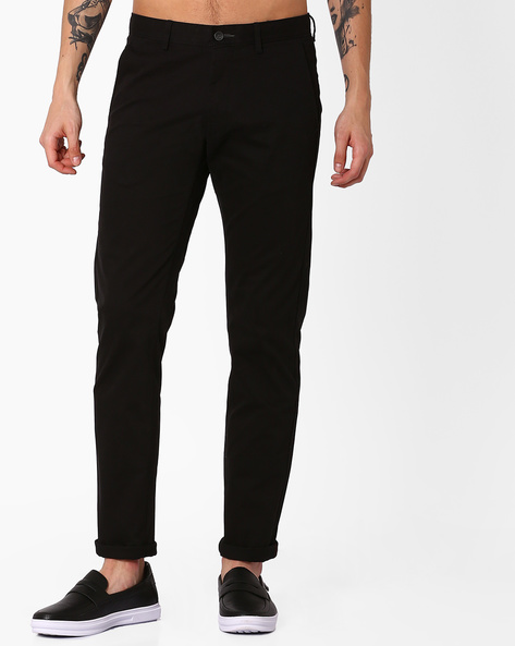 Tapered Fit Stretch Trousers By BASICS ( Black )
