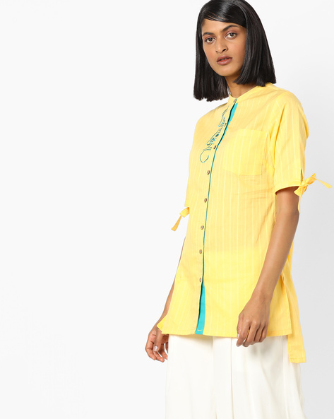 Tunic With Patch Pocket By AJIO ( Yellow )