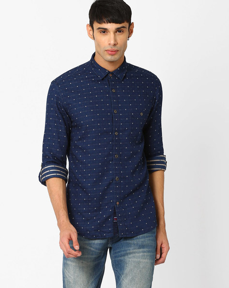 Printed Slim Fit Shirt By Killer ( Indigo )