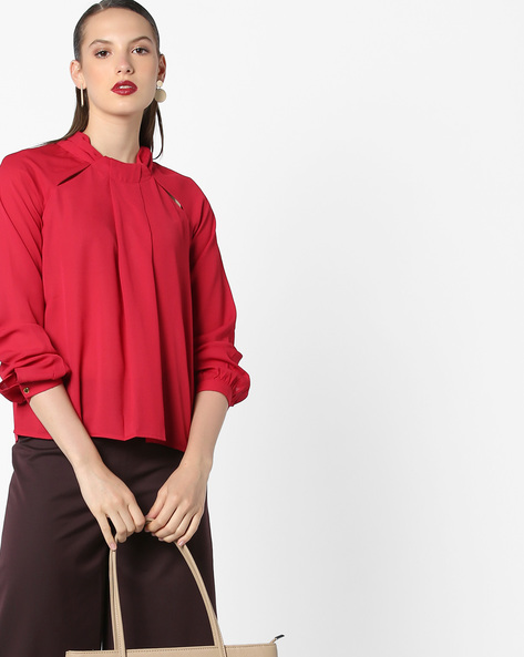 Top With Cut-Outs By AJIO ( Red )