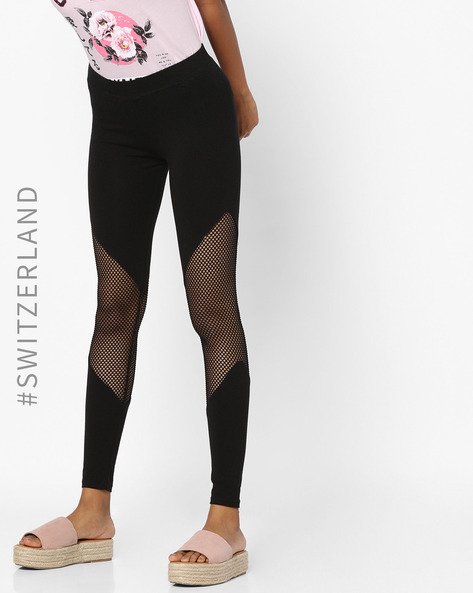 Leggings With Mesh Inserts By TALLY WEiJL ( Black )