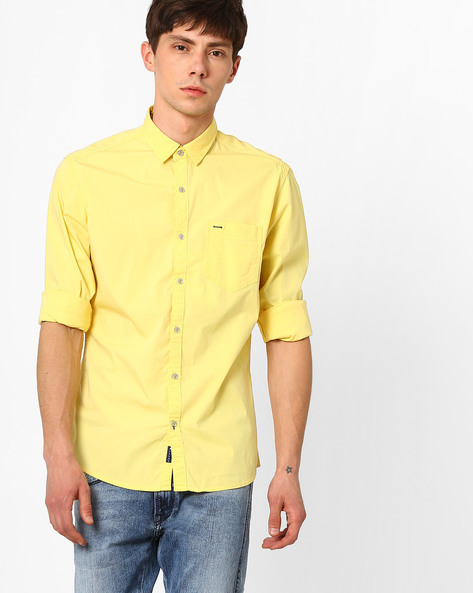 Slim Fit Shirt With Curved Hem By Killer ( Yellow )