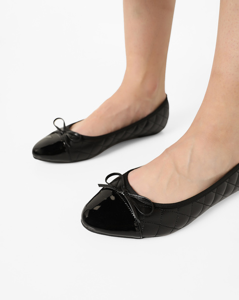 Quilted Ballerinas With Toe-Cap By Truffle Collection ( Black )