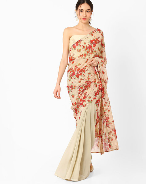Printed Saree With Embroidered Blouse Piece By AJIO ( Beige )