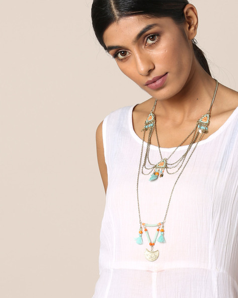 Metal Beaded Layered Long Necklace By Indie Picks ( Multi )
