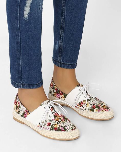 Printed Lace-Up Casual Shoes By MFT Couture ( White )