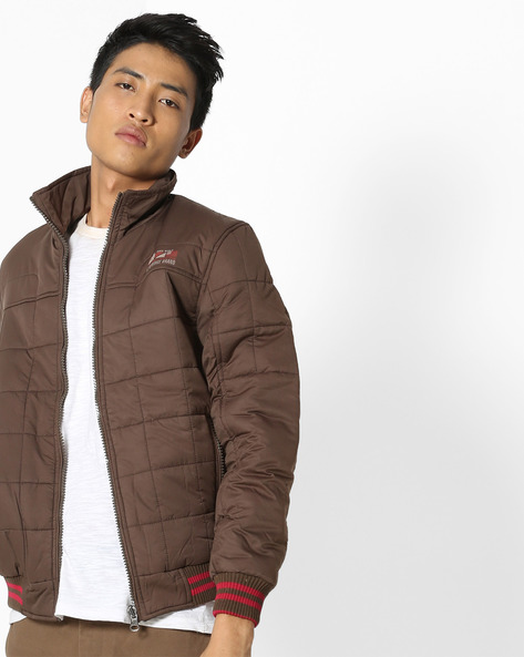 Reversible Bomber Jacket With Ribbed Hems By Fort Collins ( Coffeebrown )