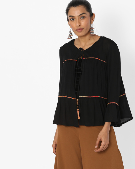 Open-Front Tunic With Bell Sleeves By COLOUR ME ( Black )