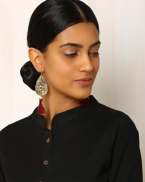 Handcrafted Brass Drop-Earrings By Indie Picks ( Brown )