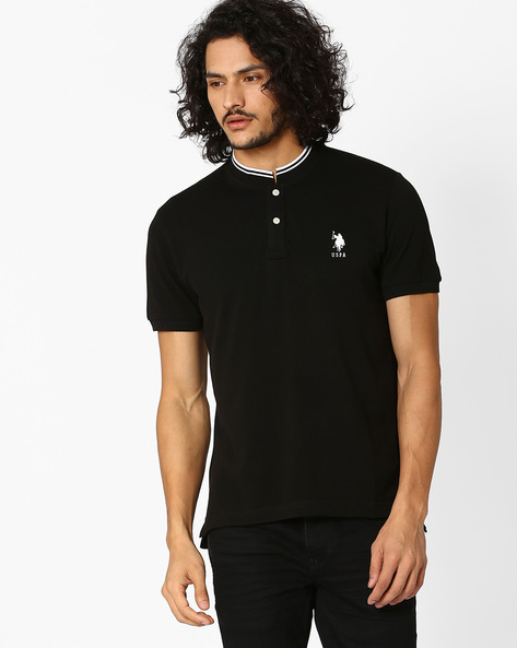 Slim Fit Cotton Polo T-shirt By US POLO ( Black )