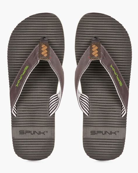 Striped Flip-Flops With Canvas Straps By Spunk ( Grey )