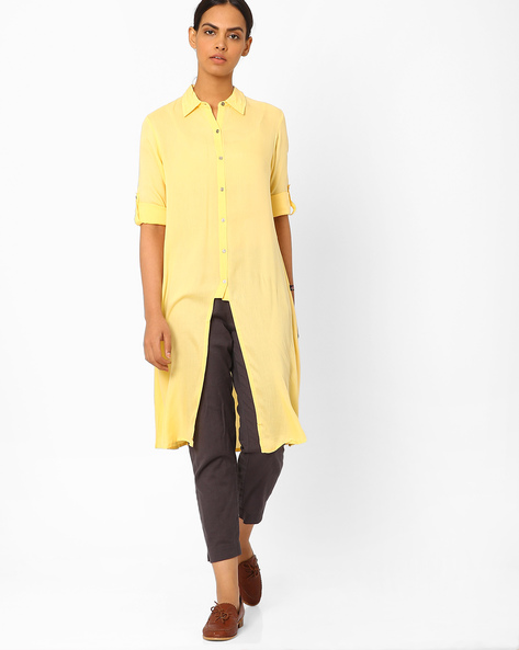 Collared Kurta With Front Slit By Juniper ( Cream )