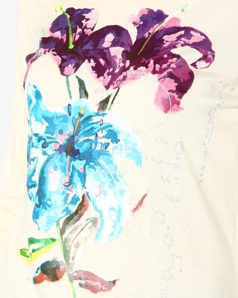 Floral Print Straight Kurta By AJIO ( Offwhite )