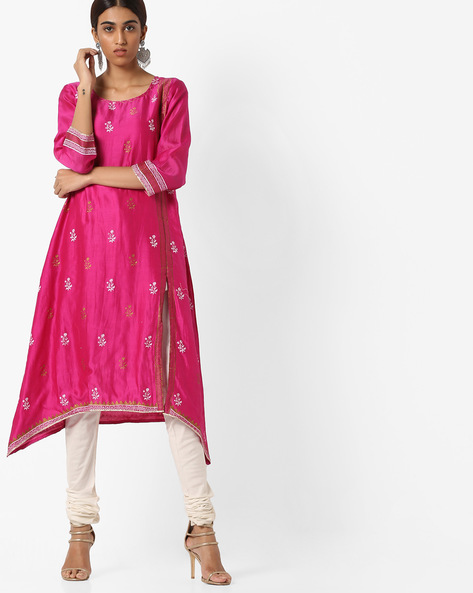 Floral Print Chanderi Kurta By Project Eve IW Evening ( Fuchsia )
