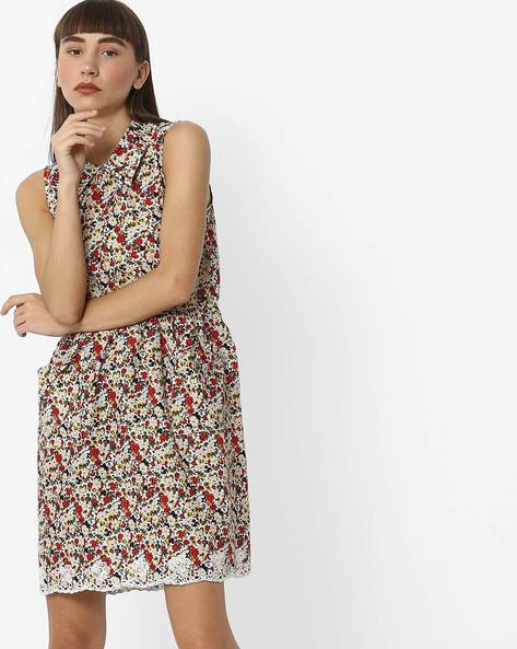 Floral Print A-line Dress With Lace Trimmed Hem By RIO ( White )