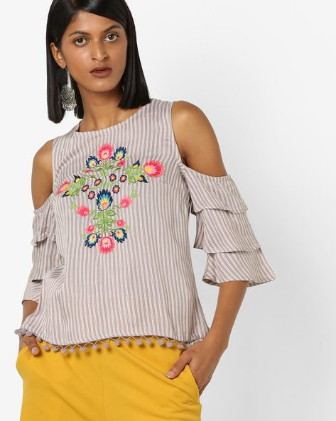 Striped Cold-Shoulder Top With Tiered Sleeves By AJIO ( Grey )