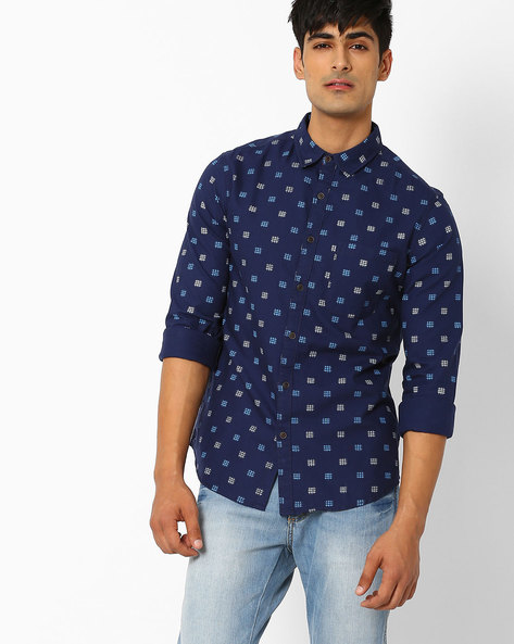 Printed Slim Fit Shirt By AJIO ( Blue )