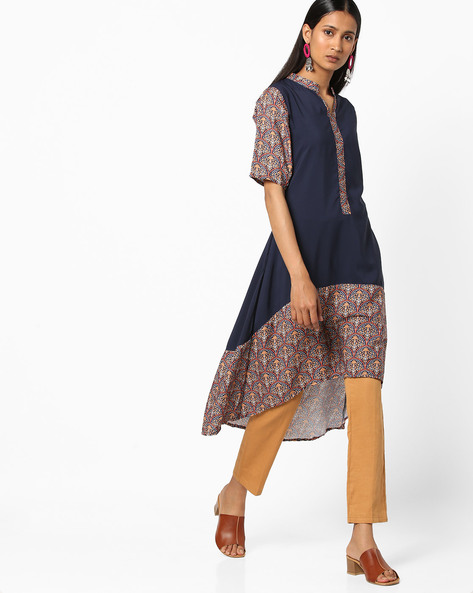 Printed High-Low Kurta By ZIYAA ( Multi )