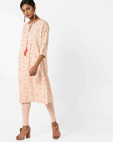 Printed Straight Kurta With Tie-Up By AJIO ( Pink )