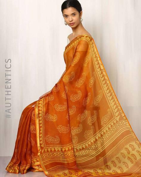Bagru Print Kota Pure Silk Saree By Indie Picks ( Rust ) - 460016738001