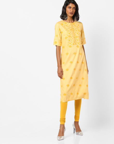 Floral Print Kurta With Embroidered Yoke By AJIO ( Yellow )