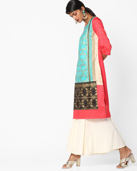 Printed Square-Neck Straight Kurta By W ( Pink )