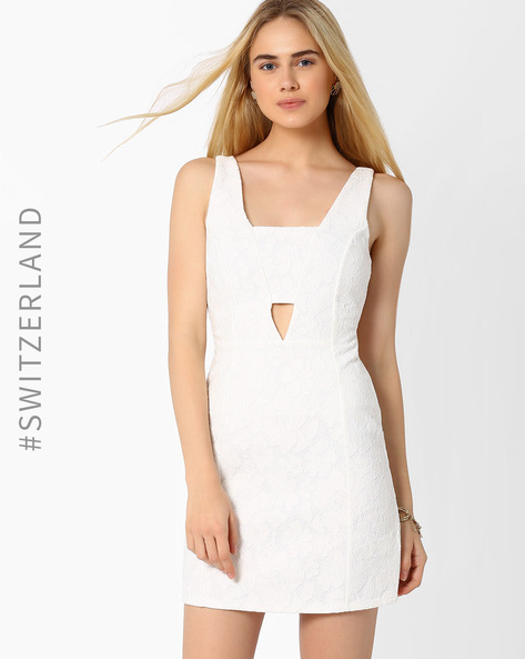 Panelled Sheath Dress With Self-Design By TALLY WEiJL ( Offwhite )