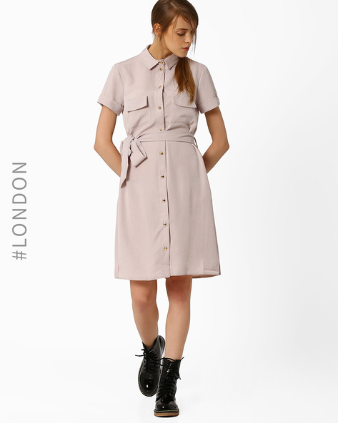 Collared Shirt Dress With Sash By Closet London ( Grey )