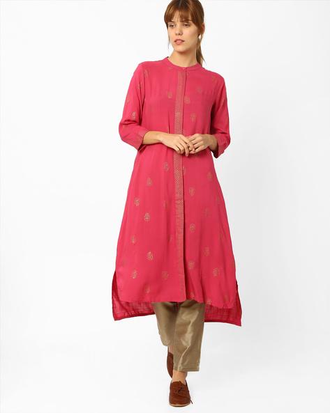 Printed High-Low Kurta By Global Desi ( Pink )