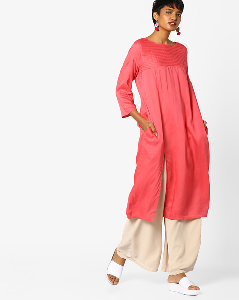 Straight Kurta With Pintucks By PE IW Casual ( Coral )