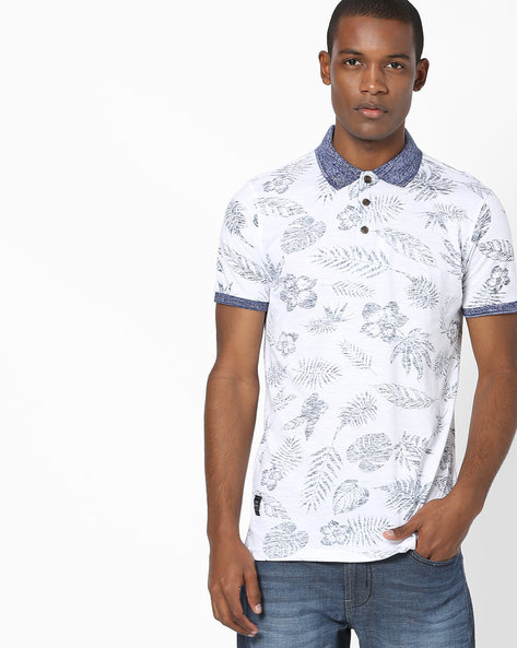 Tropical Print Polo T-shirt By DNMX ( Offwhite )
