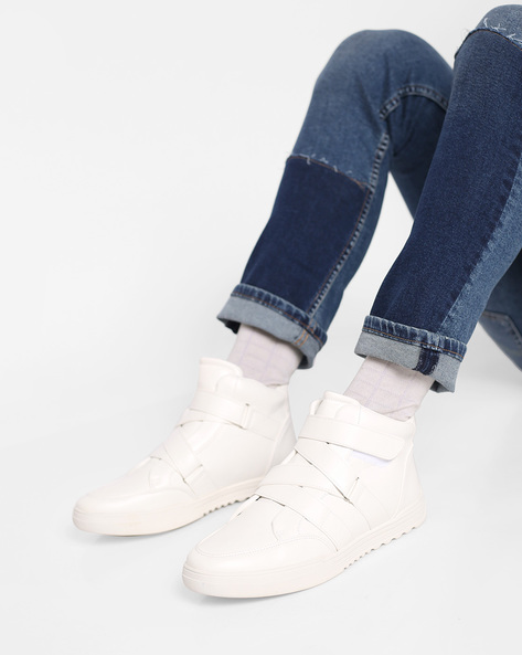 High-Top Sneakers With Velcro Fastening By AJIO ( White )