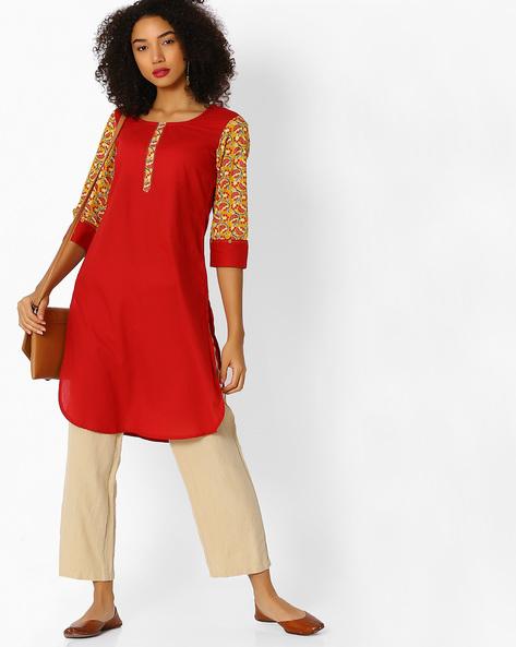 Straight Kurta With Curved Hem By SIYAHI ( Red )